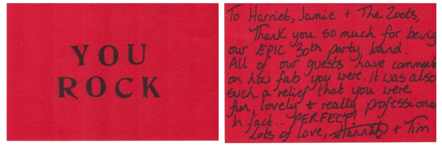 Thank you card for The Zoots from Hannah for their performance at her 1960s themed party
