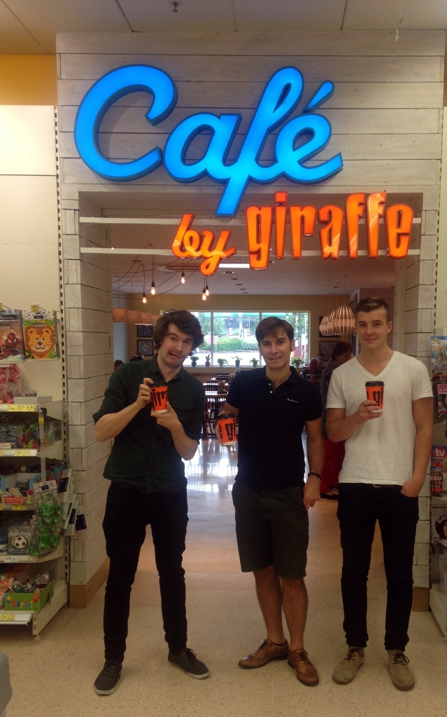 Giraffe cafe Tesco, Giraffe Cafe, Giraffe Coffee, Men drink Giraffe coffee,