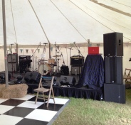 Band set up, Drum kit, Amie and Andy Malt, Malt wedding, Wedding in Cornwall, The Zoots Band, Band in Cornwall, Band in South West, Wedding band, Party Band, Awesome Function Band, Marquee Wedding, Band at a wedding, Live band at a wedding,