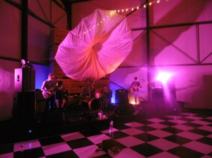 potato sheds, potato crates, potato shed party, Interior of charity ball, Kimbolton Charity Ball, Cloud Lighting, Cool lights, Decked out hall, Decorated Room, Black and white dancefloor, The Zoots, Potato shed party, Live band, soundcheck