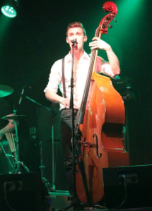 bass player, double bass, band with double bass, 50s style band, 60s style band, Dan gill, the zoots bassist, wiltshire band, party band in South West