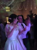 The Bride and Rick dancing to The Zoots party band at Kingsocte BArn in Tetbury