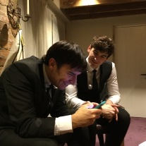 Jamie and Tommy backstage with The Zoots, Bassmead Manor Barn, Wedding Venue, Barn Wedding, Sian and Kevin, The Zoots, Wedding Decor, Wedding inspiration, Band for my Wedding, Band for Hire, Winter Wedding,