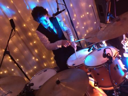 Simon The Zoots drummer, Bassmead Manor Barn, Wedding Venue, Barn Wedding, Sian and Kevin, The Zoots, Wedding Decor, Wedding inspiration, Band for my Wedding, Band for Hire, Winter Wedding,