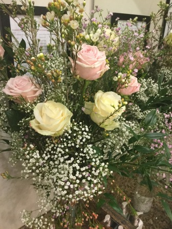 Flowers at wedding at Kingscote barn