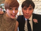 HArriet and JAmie from The Zoots wedding band in Kingscote BArn in Tetbury
