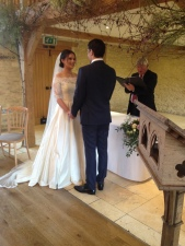 Bride and groom vows at wedding in Gloucestershire